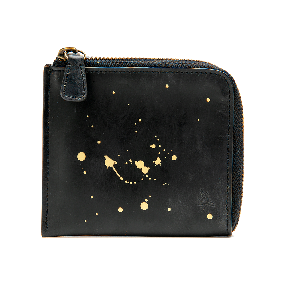 Black with Gold Accents Zip Wallet