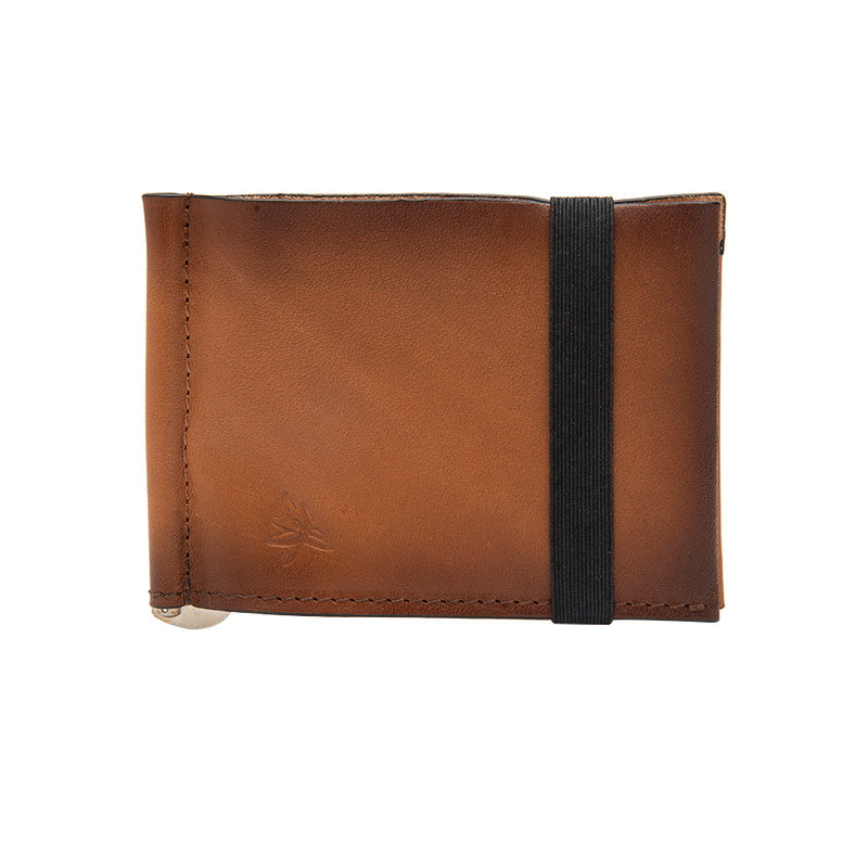 Brown Leather Wallet with Adjustable Money Clip