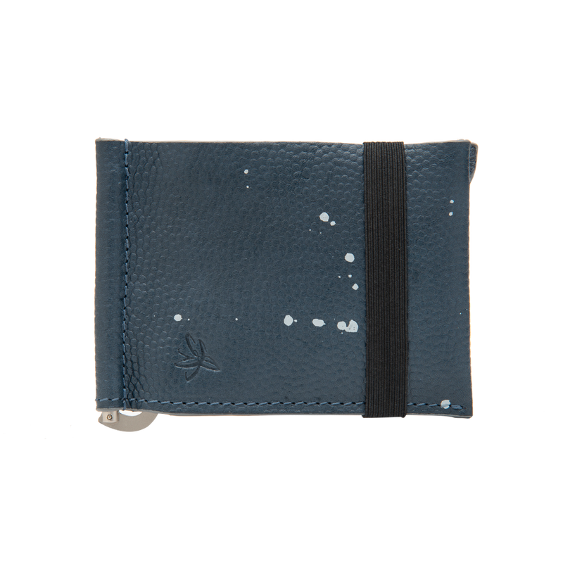 Blue Leather Wallet with Adjustable Money Clip