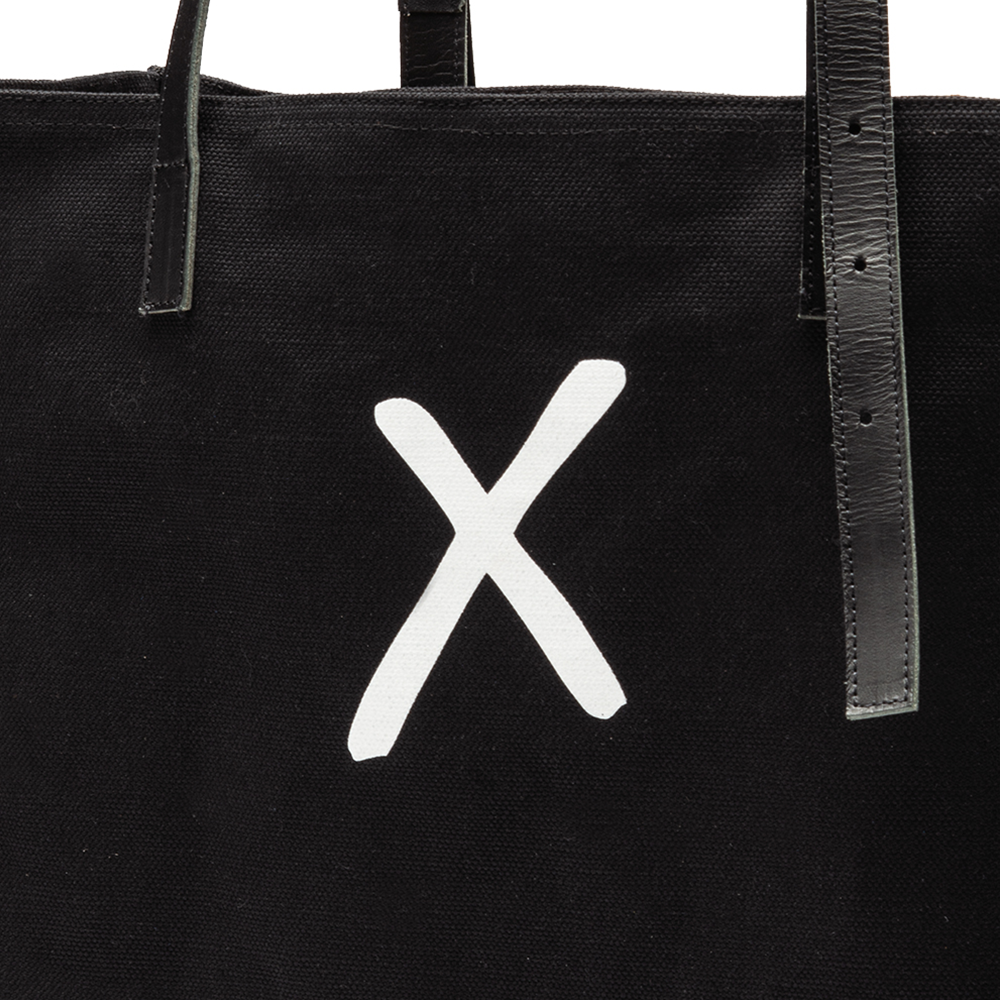 Black Canvas Tote Bag with White X