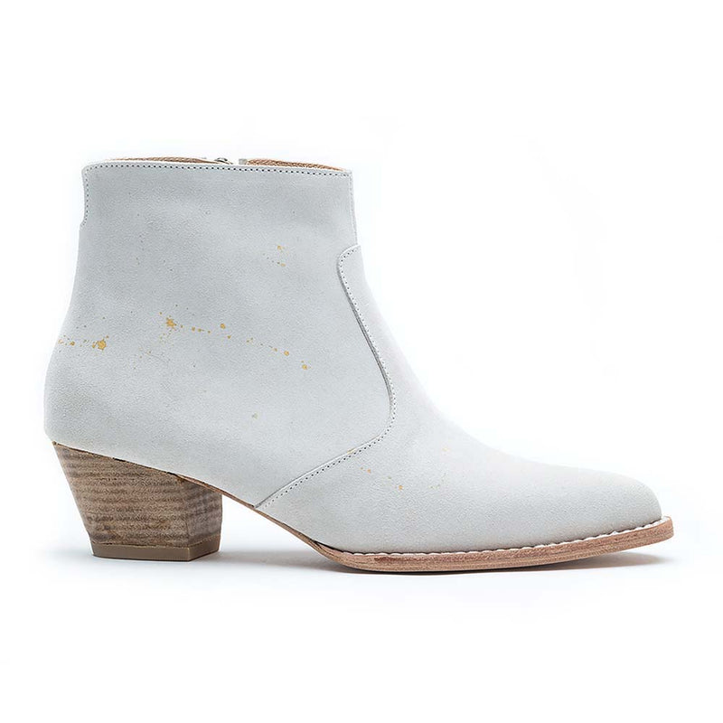 Women's Jane White Suede Gold Accents