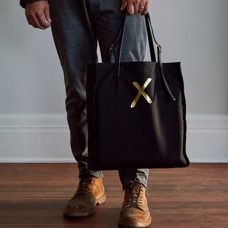 Black Canvas Tote Bag with Gold X