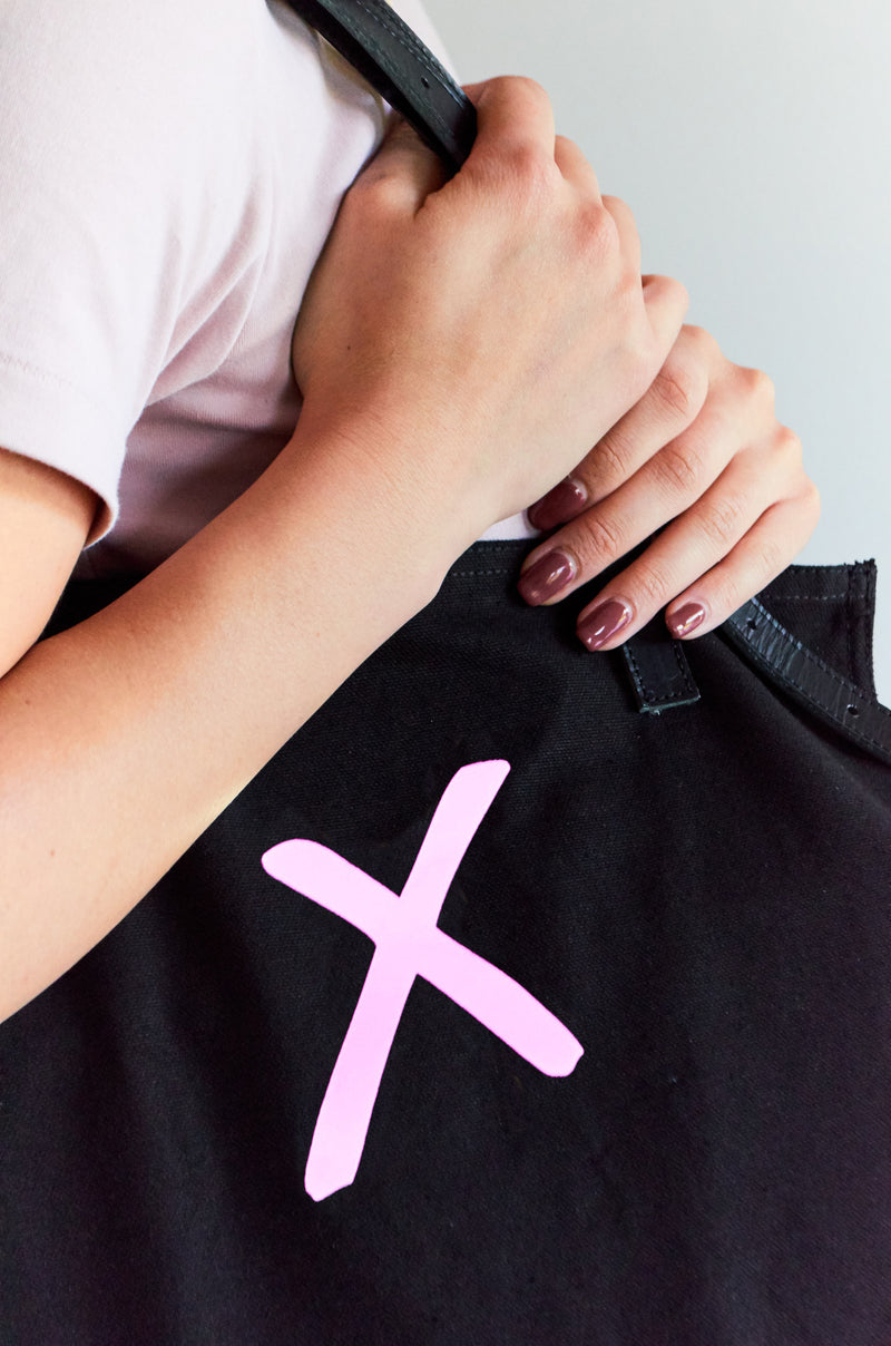Black Canvas Tote Bag with Pink X