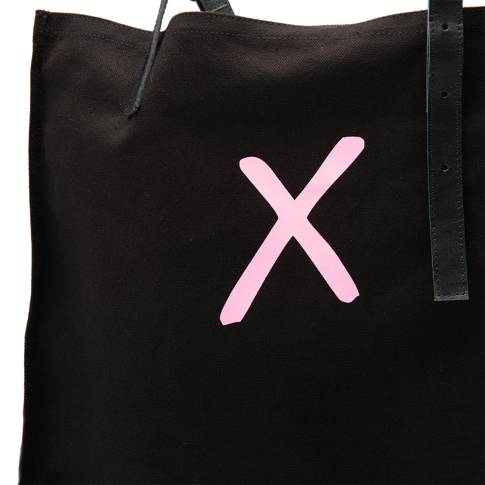 Black Canvas Tote - Pink X