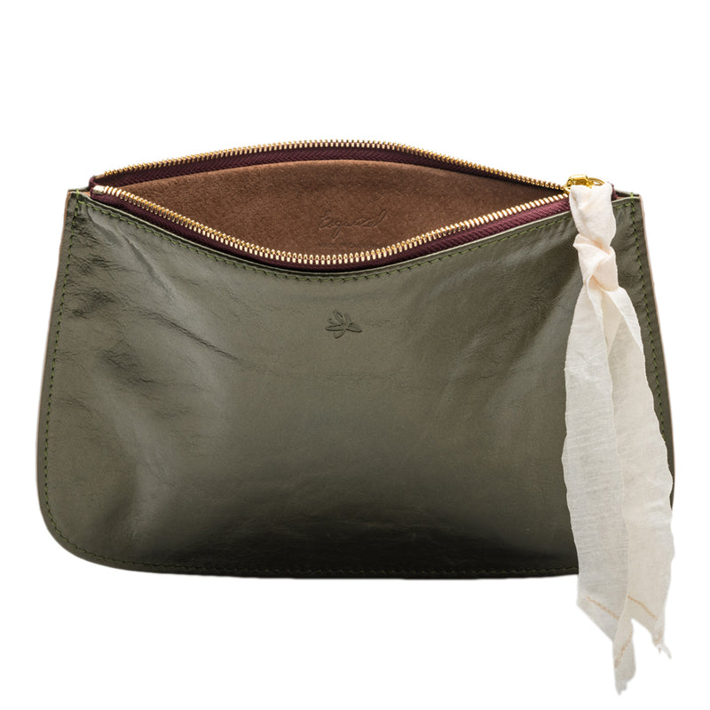 Olive Leather Clutch