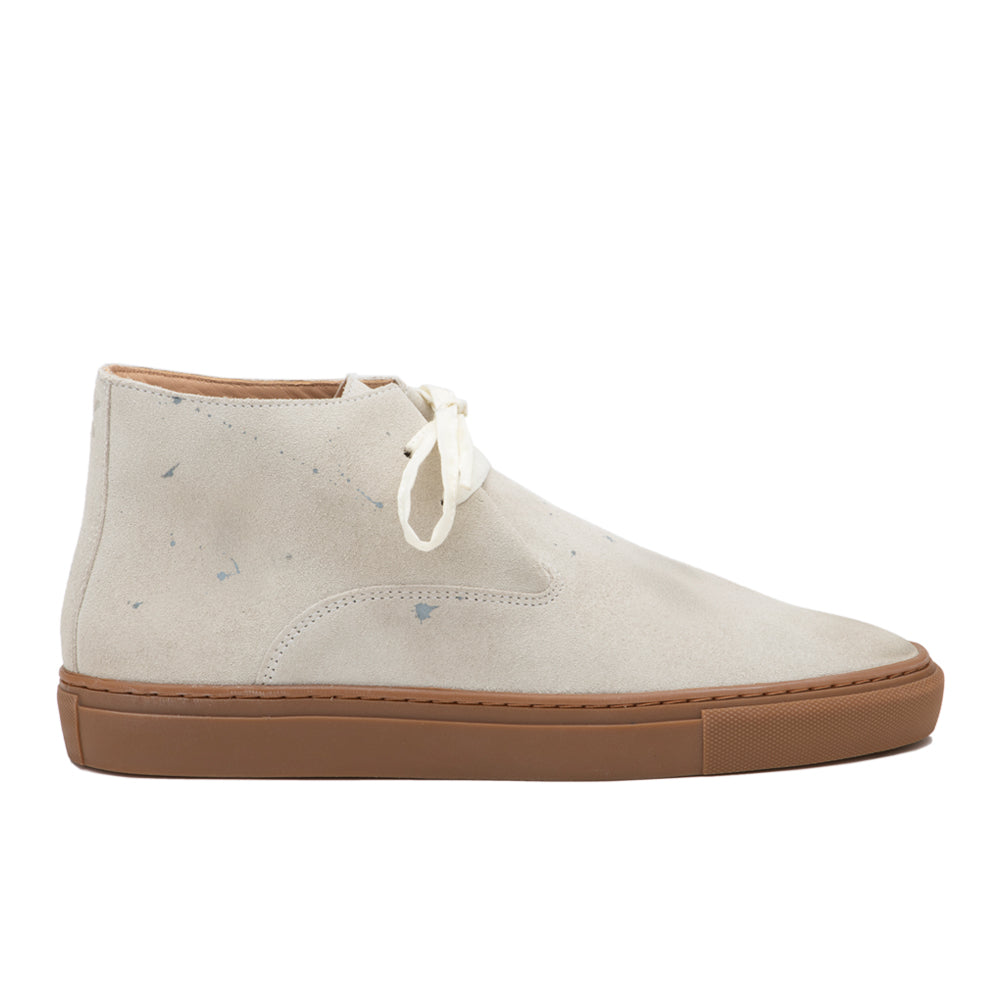 Men's Dandy Hi Weekender White Distressed Suede
