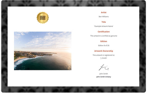 fine art photography certificate of authenticity