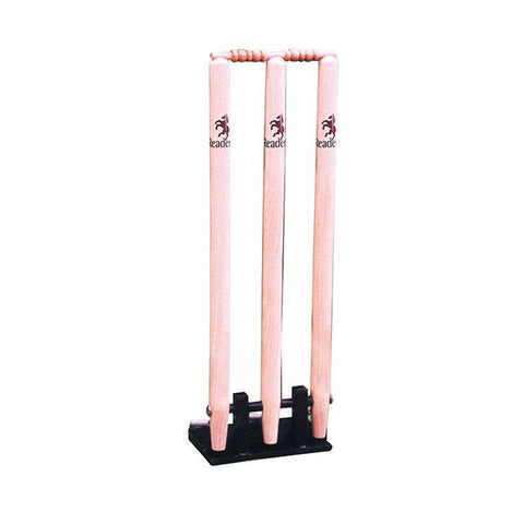 Readers Spring Return Wooden Cricket Stumps (With Metal Base)