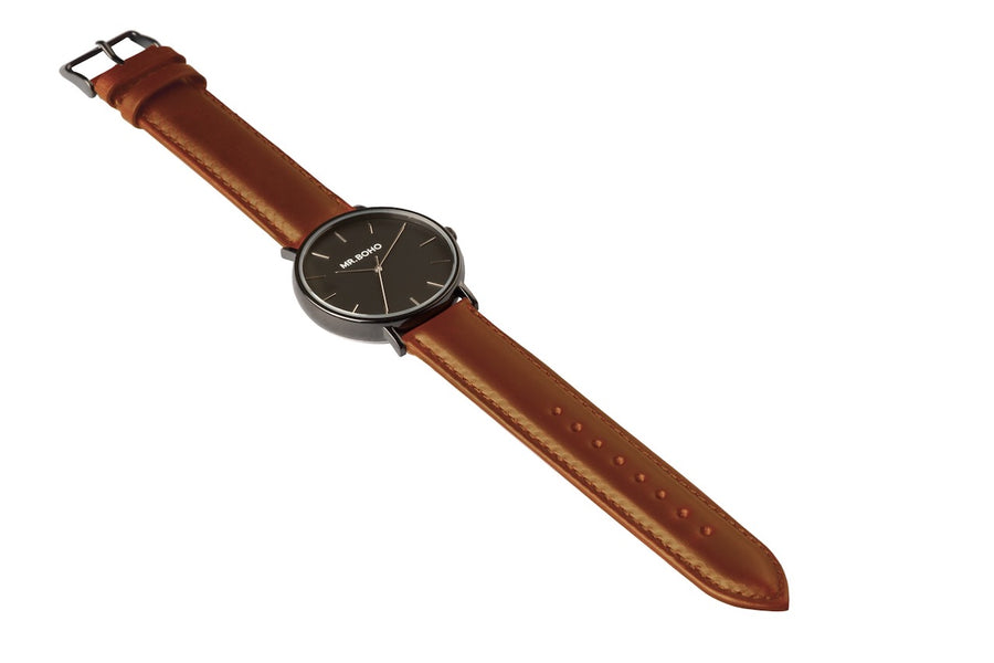 Metallic Classic Jet Leather Watch