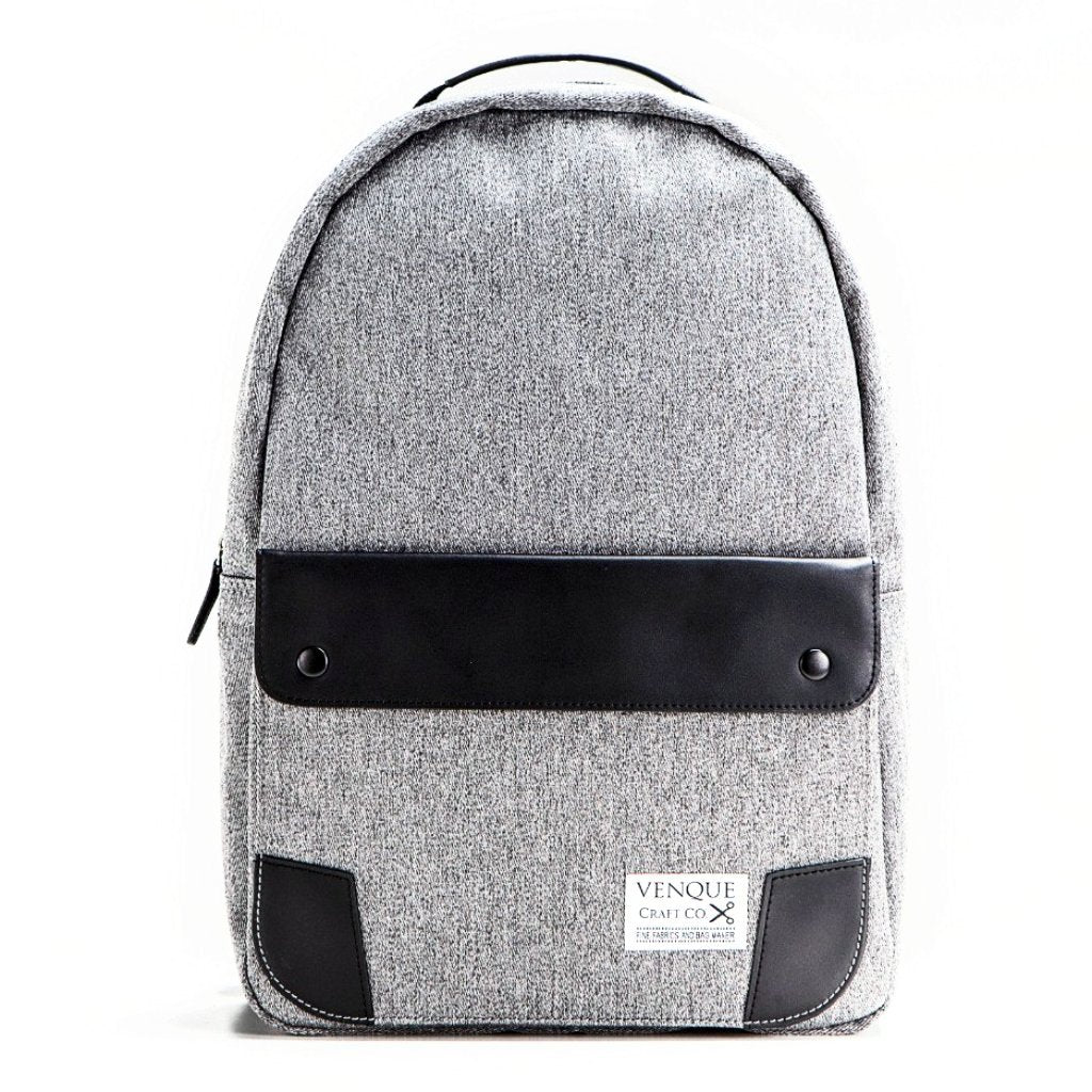 Classic Grey: Quanta fabric. Black leather handle and exterior pocket flap