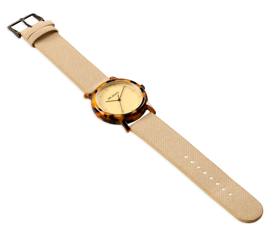mr boho acetate tortoise watch champagne face