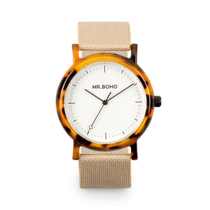 Acetate White Flecked Watch