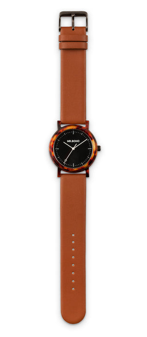 mr boho acetate tortoise watch brown leather strap