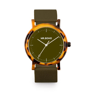 Acetate Khaki Flecked Watch