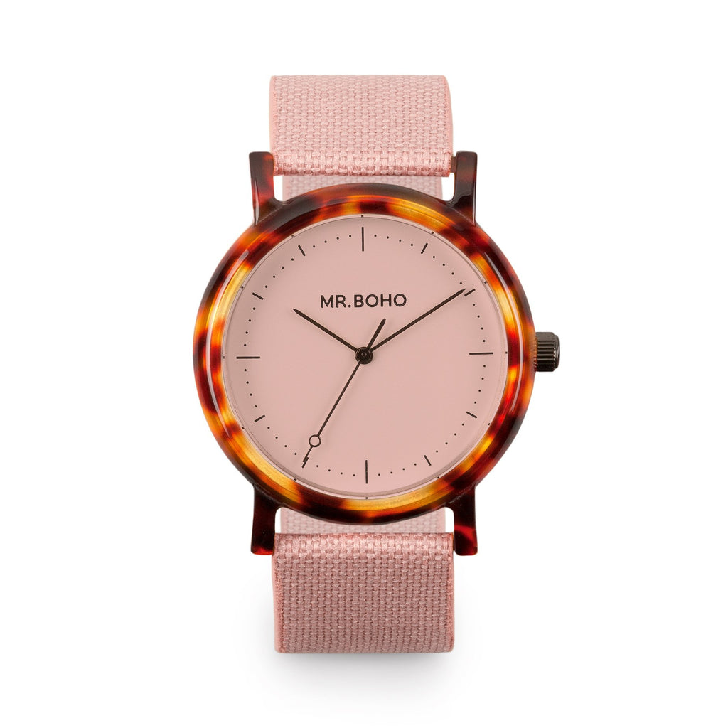 Acetate Flamingo Walnut - Mr Boho Casual Watch