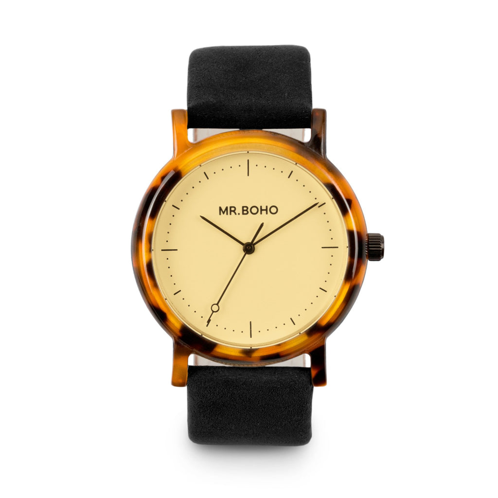 Acetate Black Strap Champagne Face Flecked - Mr Boho Casual Watch