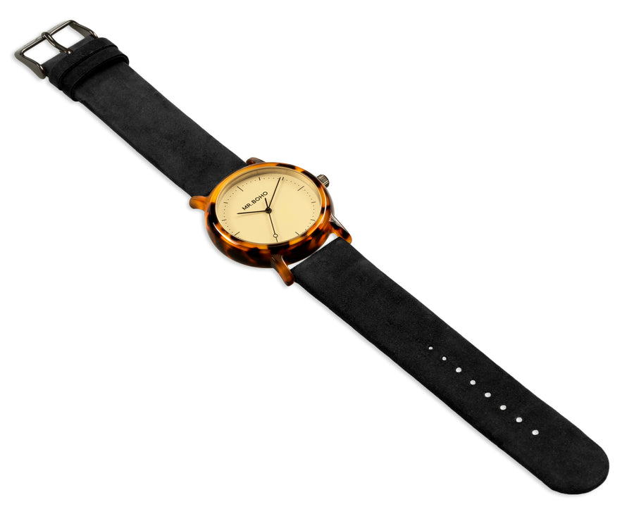 Acetate Black Champagne Flecked Watch