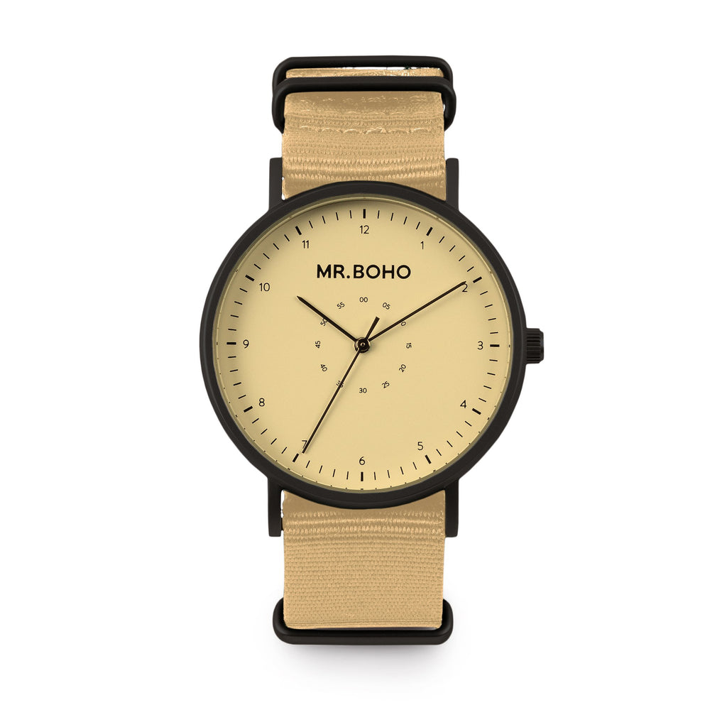 Metallic Black Frame + Jet Sand/Beige Face & Strap Casual Watch - Mens