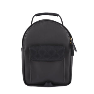 Venque Babe Mini: Small black leather bag with diamond shaped stitching on exterior pocket flap