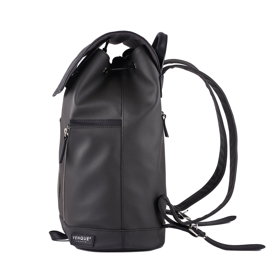 Diamond Mini: Matte Black leather bag with diamond shaping stitching flap. Lightweight coated cotton material