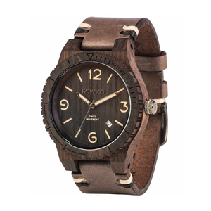 WeWood Alpha Swiss Black Rough Wood Watch