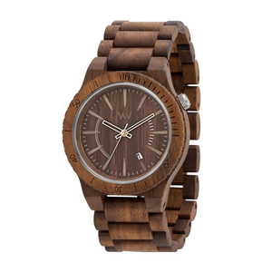 WeWood Assunt Nut Brown Teak Wood Watch with silver hands