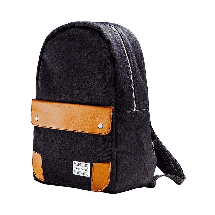 Venque Classic black canvas bag with brown leather exterior flap and corners