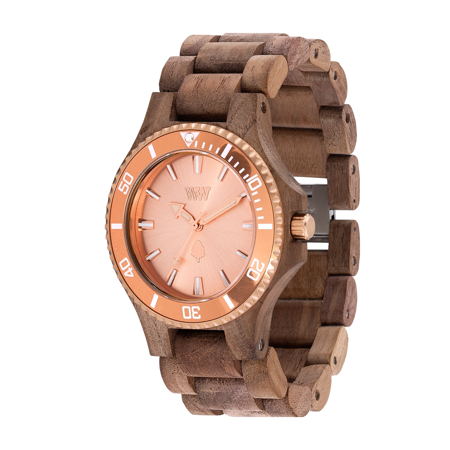 WeWood Nut Rough Watch with 100% teak wood black and rose gold casing/hands