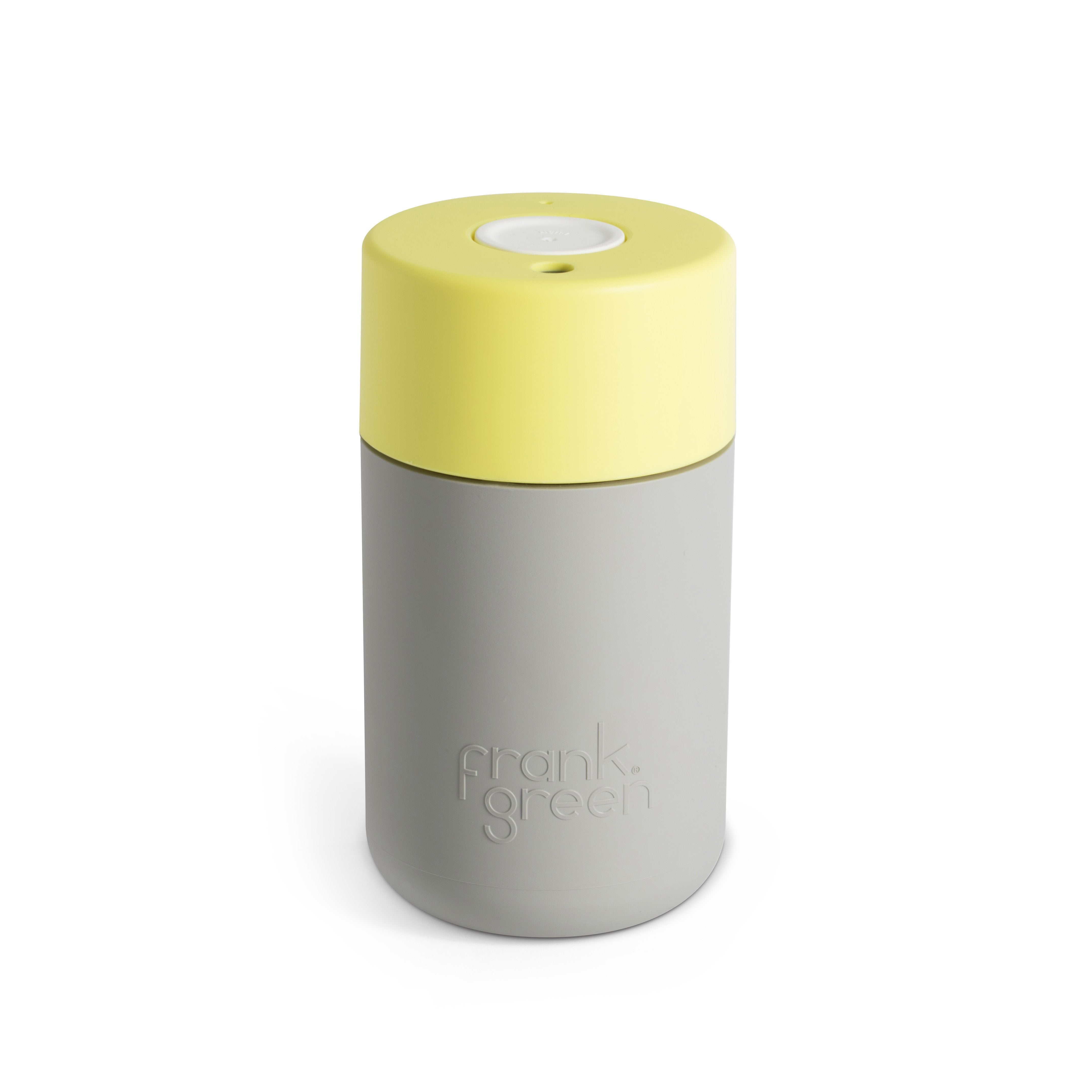 Frank Green - Smart Cup 12oz - Cool Grey / Pale Yellow / White Coffee Cup