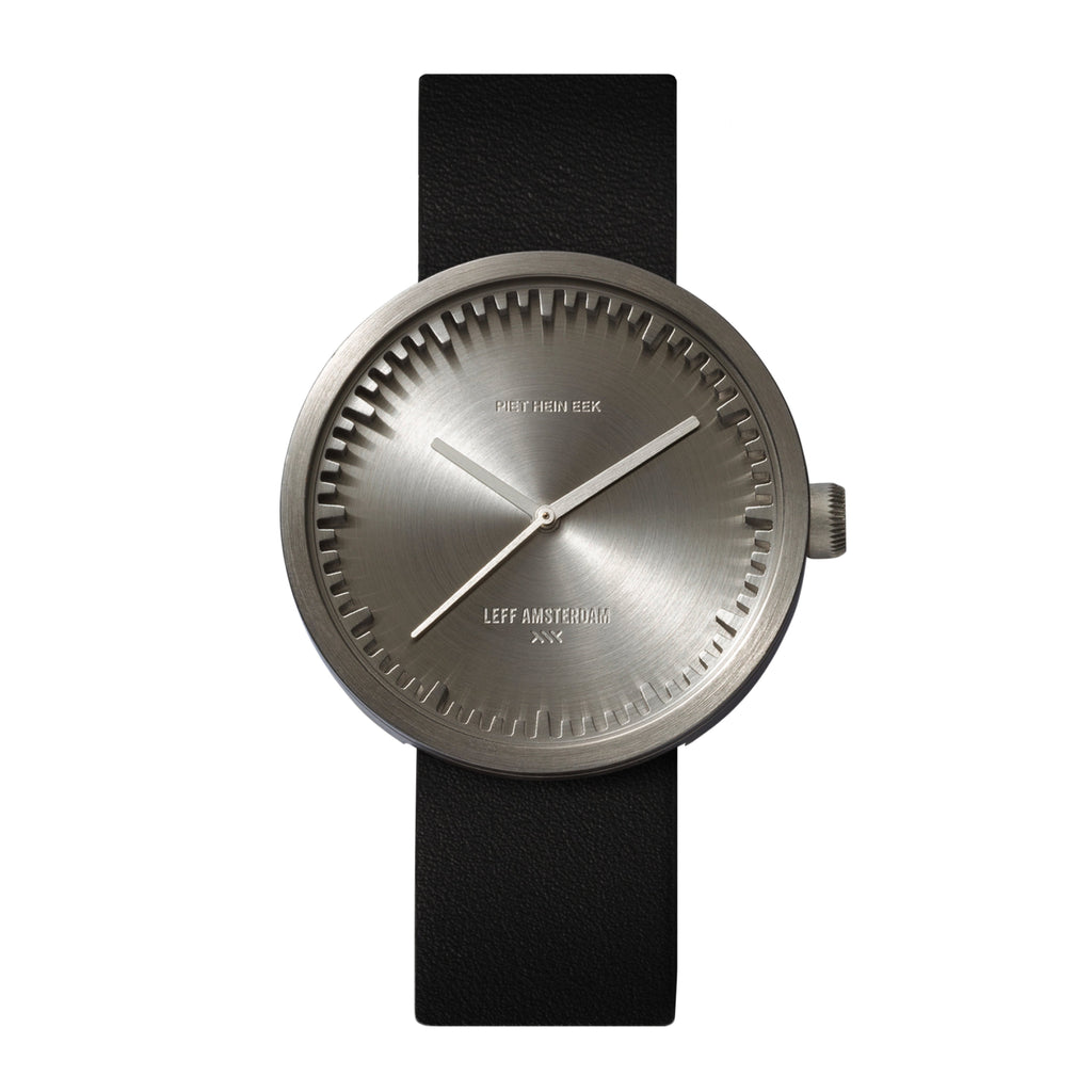 Tube Watch D42 With Black Leather Strap - Steel