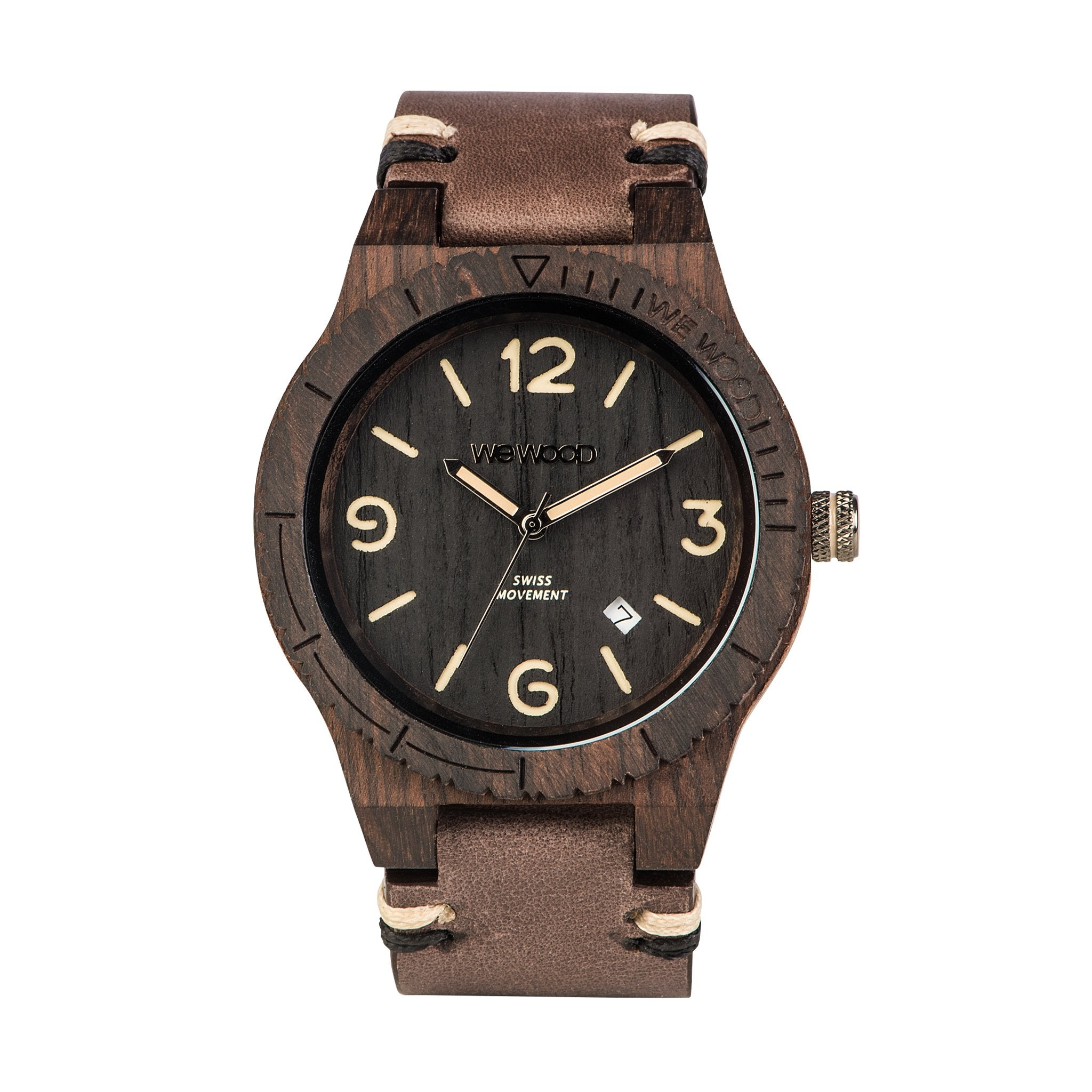 Alpha Swiss Black Rough Wood Watch - Branched
