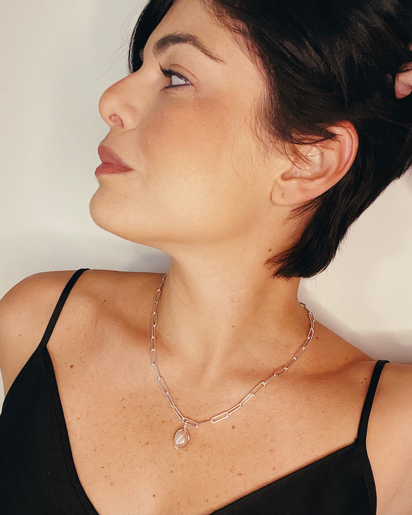 "20"" CHAIN NECKLACE WITH WRAPPED BAROQUE ROSE PEARL - STERLING SILVER"