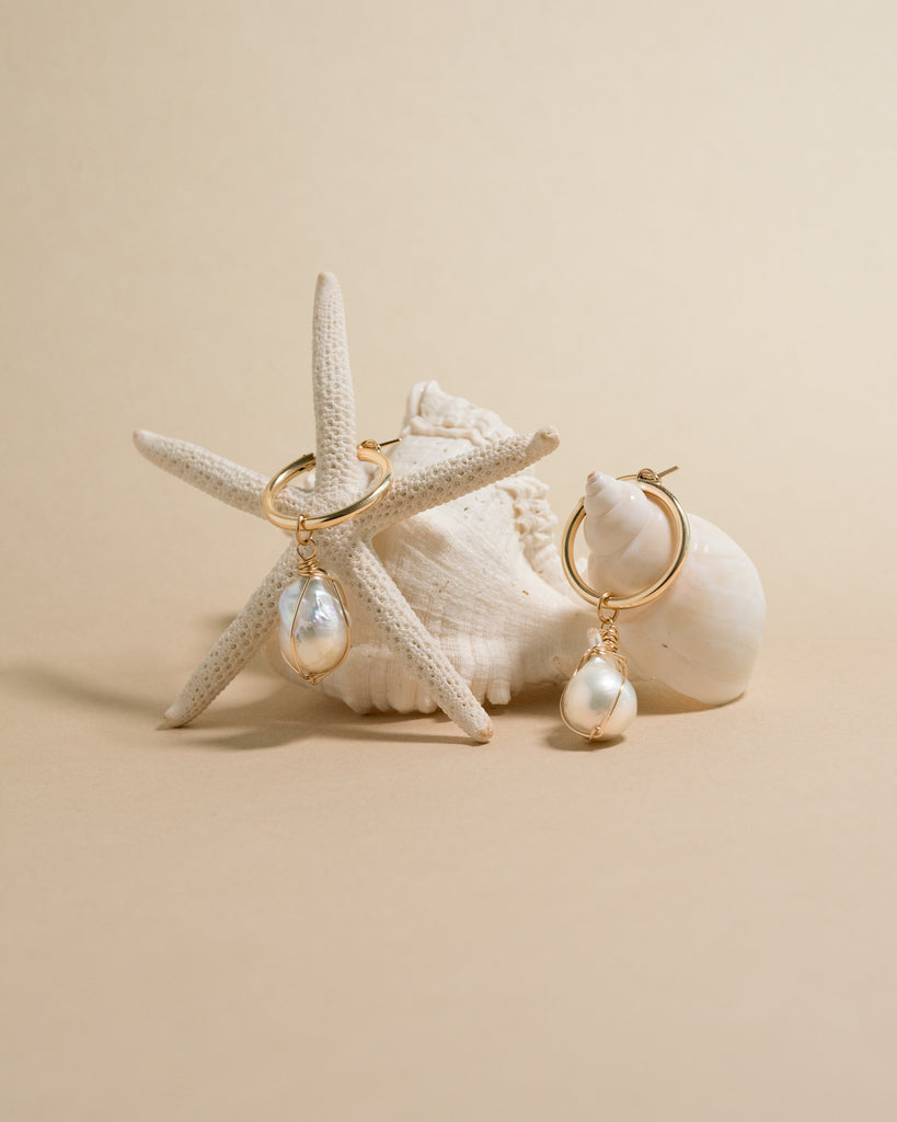 ILHA hoops with removable baroque pearls