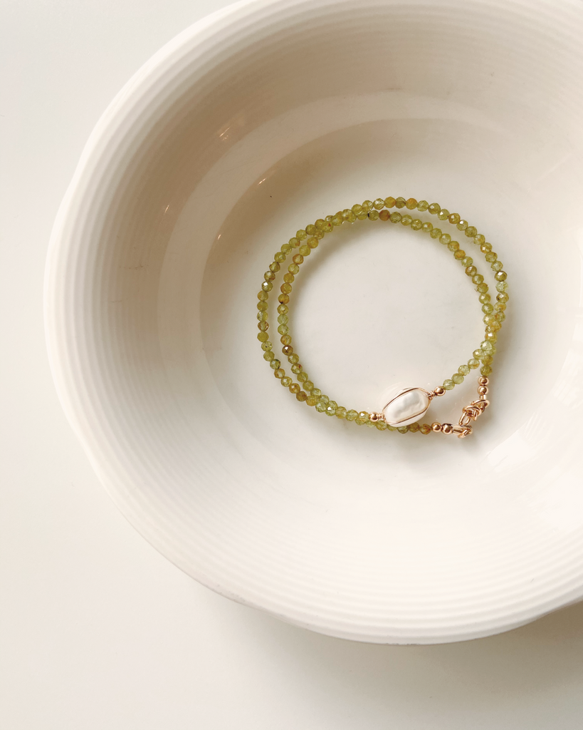 Peridot Choker Necklace with Fresh Water Pearl