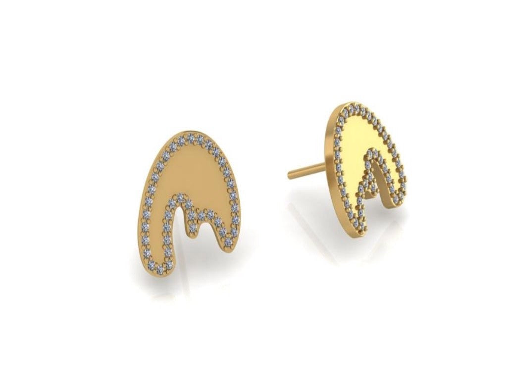 Nude Studs - 10K Yellow Gold with Diamond Pave