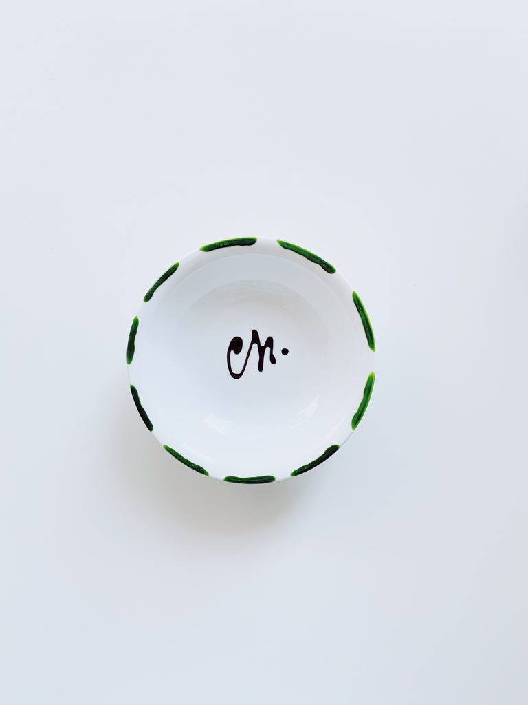 Medium porcelain jewellery dish - Green