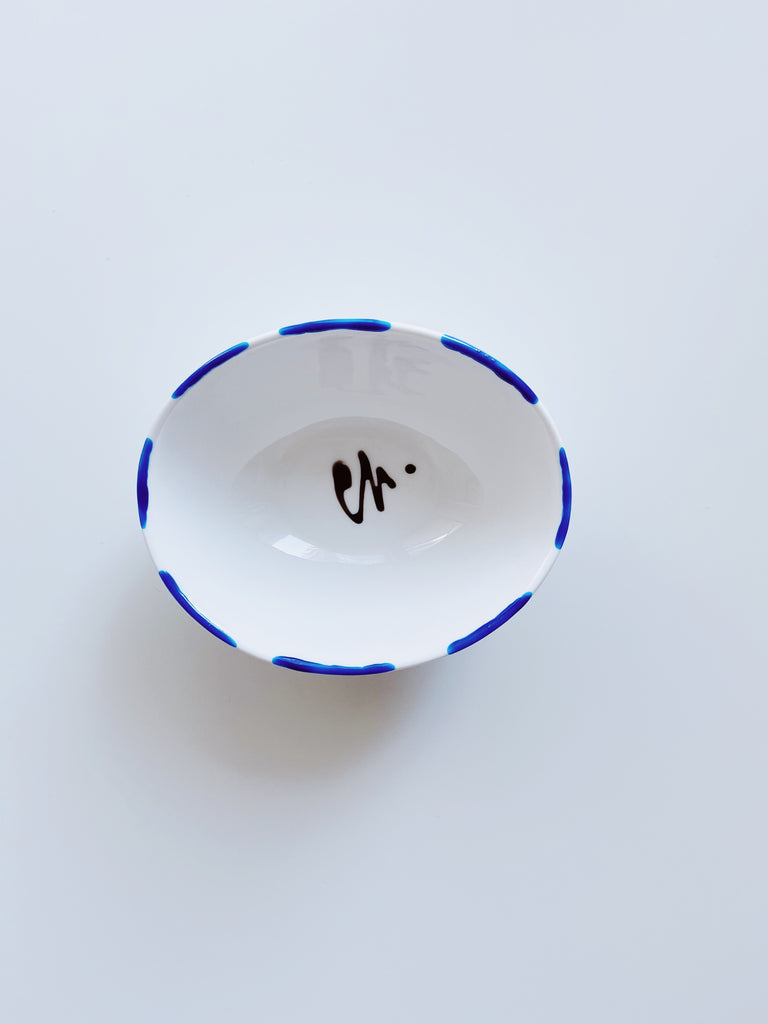 Medium oval shape porcelain jewellery dish - blue