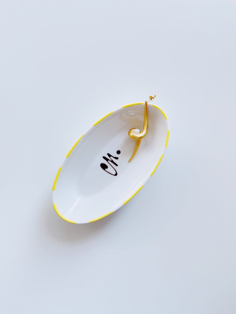 Small canoe shape porcelain jewellery dish - Yellow