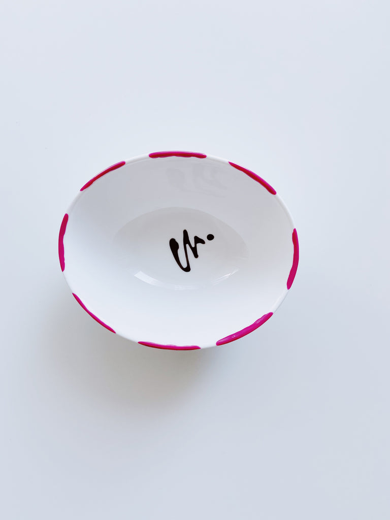 Medium oval shape porcelain jewellery dish - Pink
