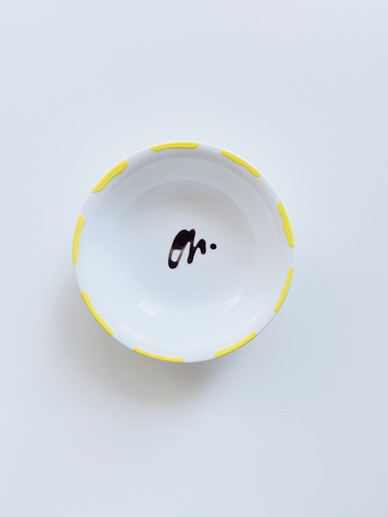 Medium porcelain jewellery dish - Yellow