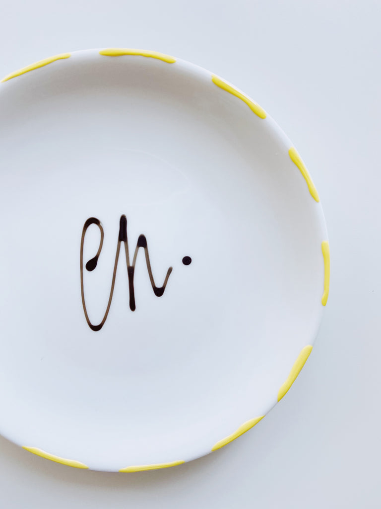 Small Decorative porcelain plate - yellow