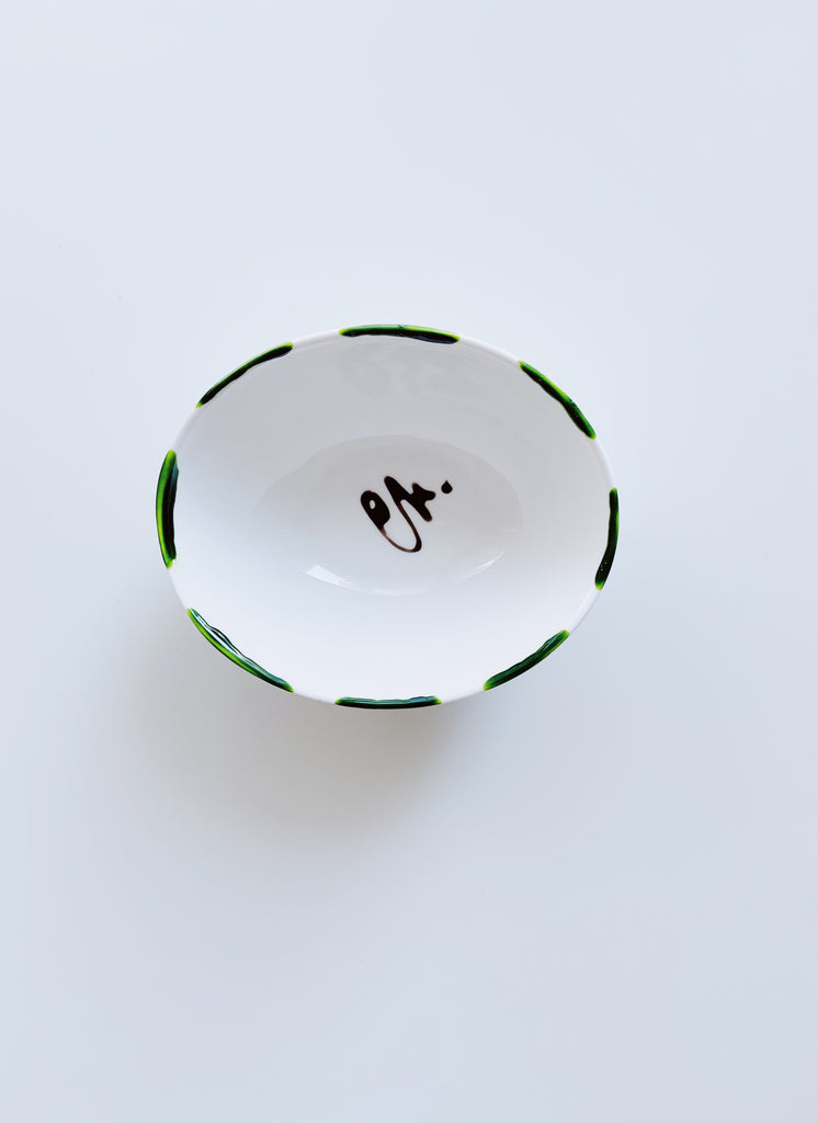 Medium oval shape porcelain jewellery dish - Green