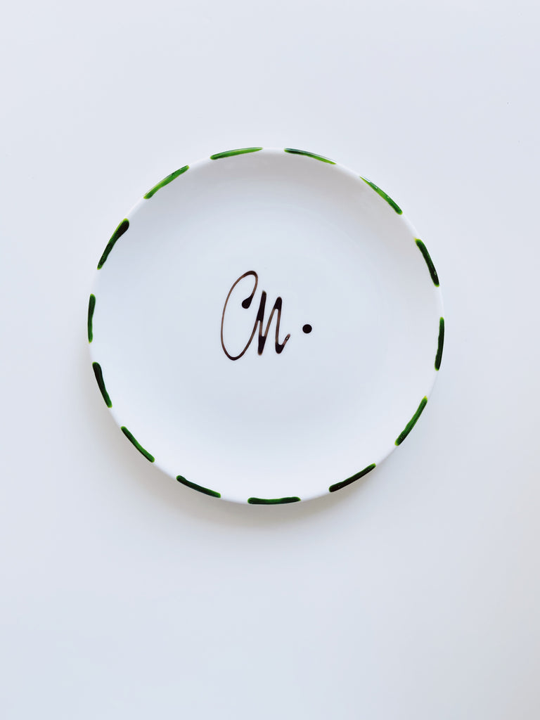 Medium decorative porcelain plate - Green
