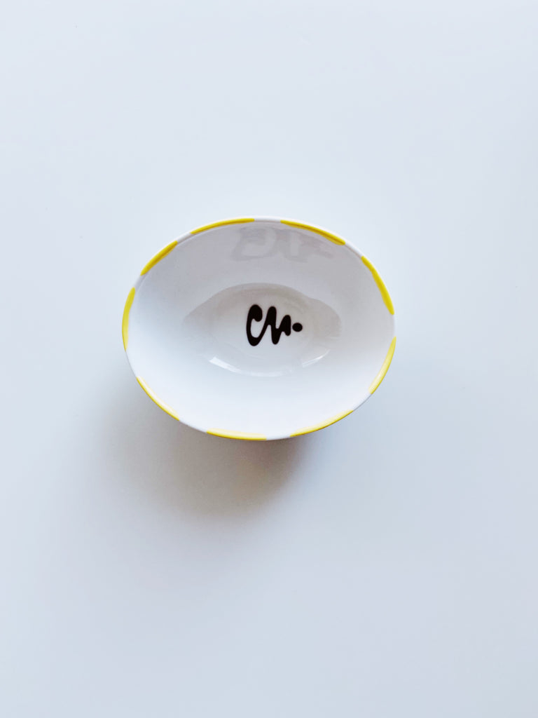 Medium oval Shape porcelain Jewellery Dish  - yellow