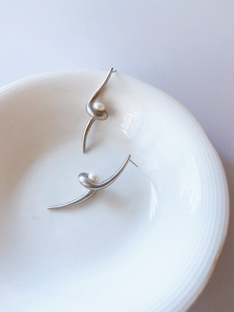 Dalila Drop Earrings white gold finish - SAMPLE