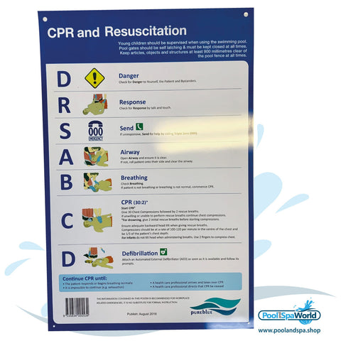 CPR and Resuscitation Chart Safety Sign