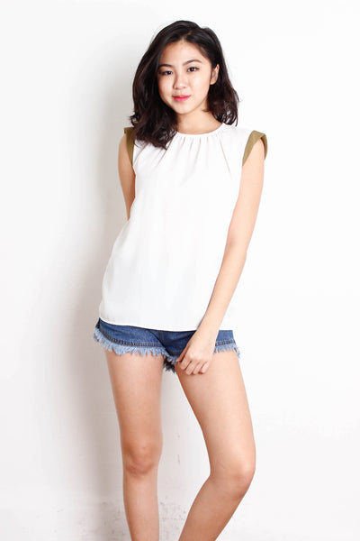[MANGO] White Chiffon Office Top