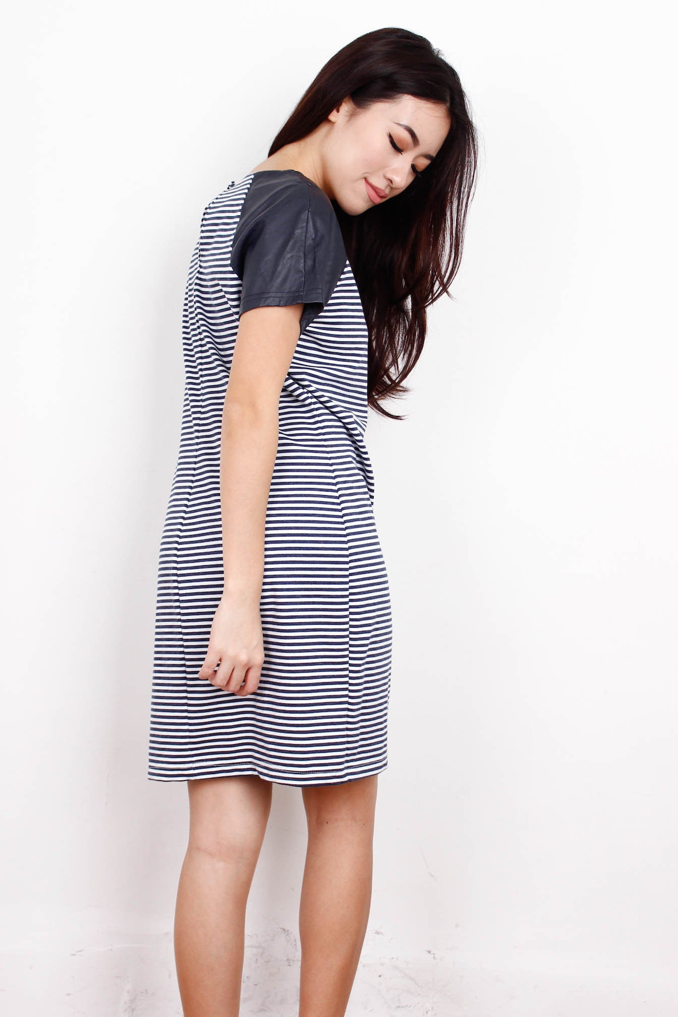 [DOROTHY PERKINS] Leather Sleeve Striped Dress