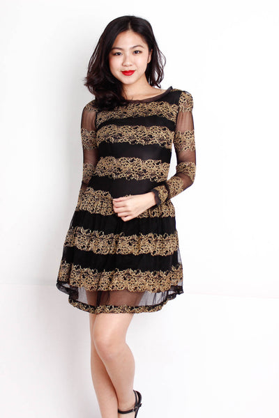 [BYSI] Golden Embellish Drop Waist Dress