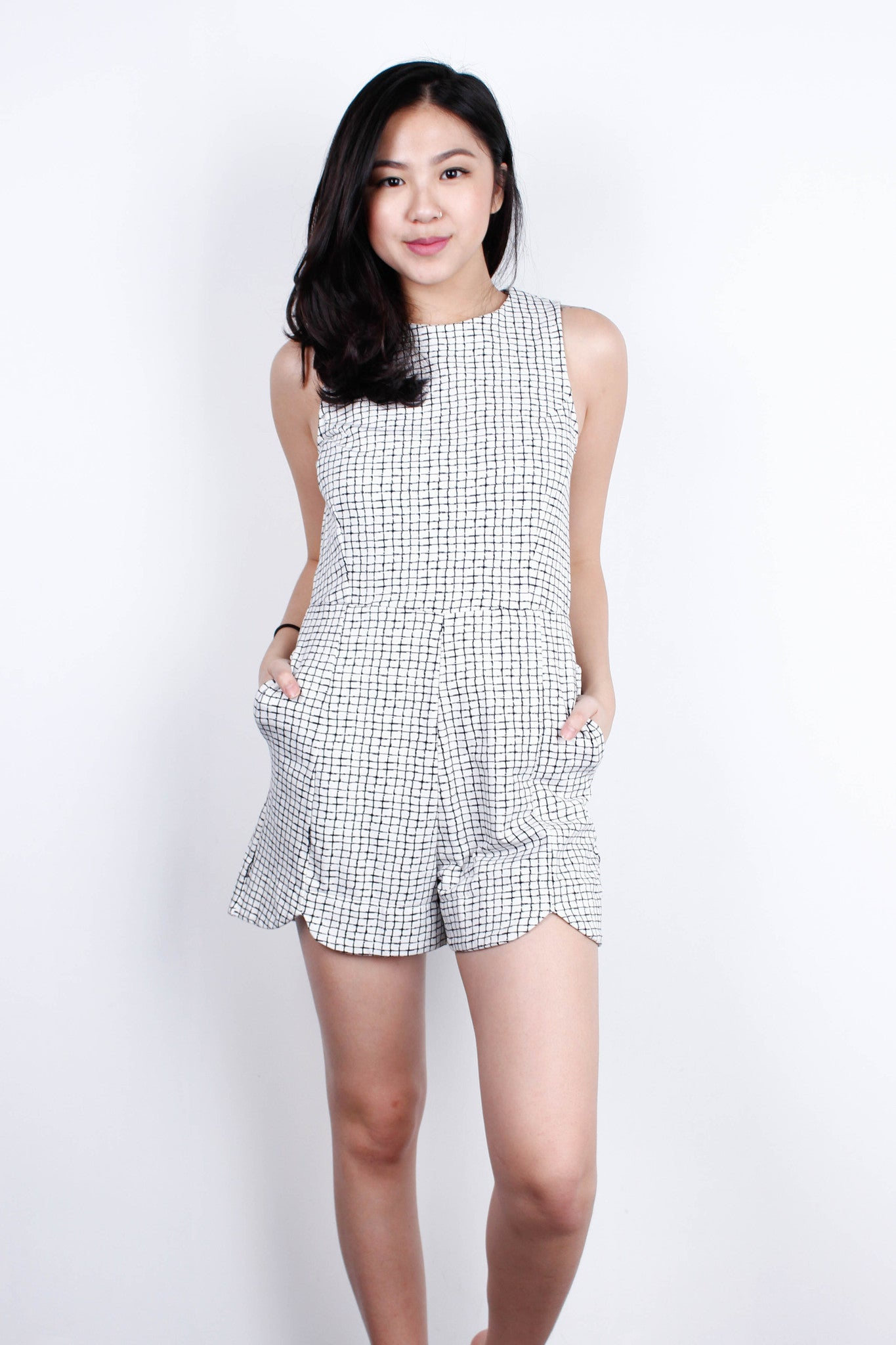 [SOMETHINGBORROWED] Checkered Black White Romper
